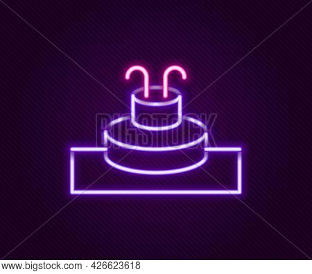 Glowing Neon Line Fountain Icon Isolated On Black Background. Colorful Outline Concept. Vector