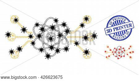 Mesh Polygonal Atomic Circuit Icons Illustration With Lockdown Style, And Rubber Blue Round 3d Print