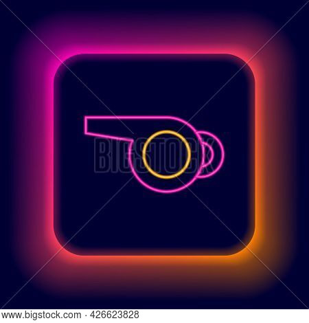 Glowing Neon Line Whistle Icon Isolated On Black Background. Referee Symbol. Fitness And Sport Sign.