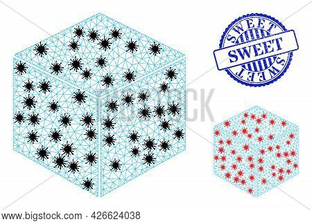 Mesh Polygonal Sugar Cube Symbols Illustration With Outbreak Style, And Textured Blue Round Sweet Ba