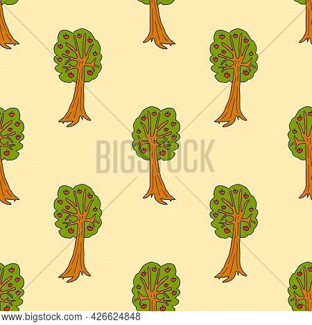 Cartoon Doodle Apple Tree Seamless Pattern. Fruit Background In Childlike Style.