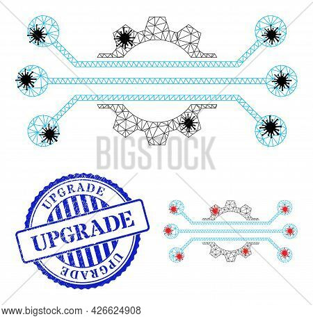 Mesh Polygonal Hitech Industry Symbols Illustration Designed Using Infection Style, And Scratched Bl
