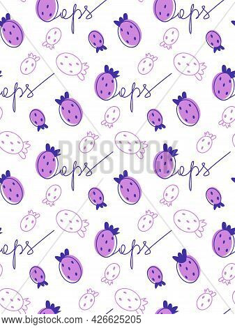 Doodle Purple Seamless Pattern With Strawberry Spots And Outline Oops Lettering. Strawberry Fruit St