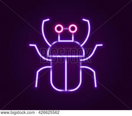 Glowing Neon Line Stink Bug Icon Isolated On Black Background. Colorful Outline Concept. Vector
