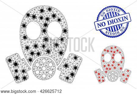 Mesh Polygonal Gas Mask Symbols Illustration In Outbreak Style, And Distress Blue Round No Dioxin Ba