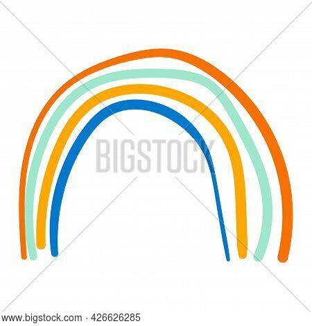 Cute Cartoon Rainbow In Childlike Doodle Style Isolated On White Background.