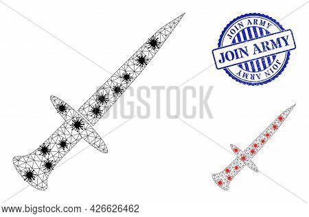 Mesh Polygonal Sword Symbols Illustration Designed Using Lockdown Style, And Grunge Blue Round Join