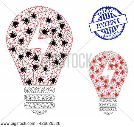 Mesh Polygonal Electric Bulb Symbols Illustration In Lockdown Style, And Scratched Blue Round Patent