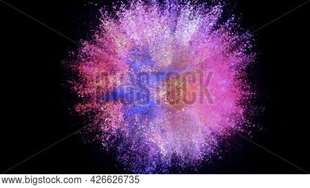 3d Rendering Of A Colorful Explosion Of Colored Particles On A Black Background. Bright Background F