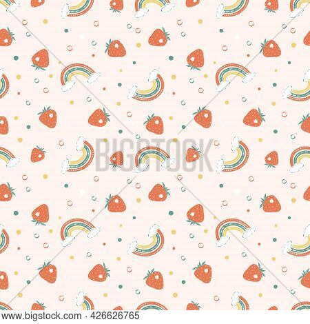 Seamless Pattern With Bright Rainbows, Strawberries And Polka Dot. Bright Summer Print For Design, T