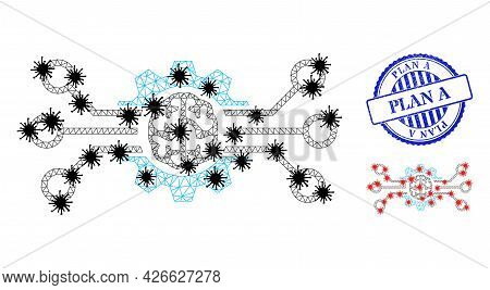 Mesh Polygonal Artificial Intellect Symbols Illustration In Infection Style, And Grunge Blue Round P