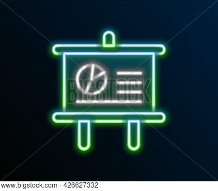 Glowing Neon Line Presentation Board With Graph, Schedule, Chart, Diagram, Infographic, Pie Graph Ic