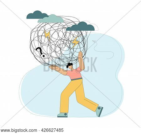 The Person Carries The Burden Of Stress. Heavy Burden On The Shoulders. Difficulties, Anxiety, Crisi