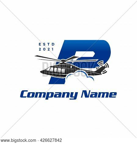 Modern And Stylish Illustration Logo Design Initial P Helicopter.