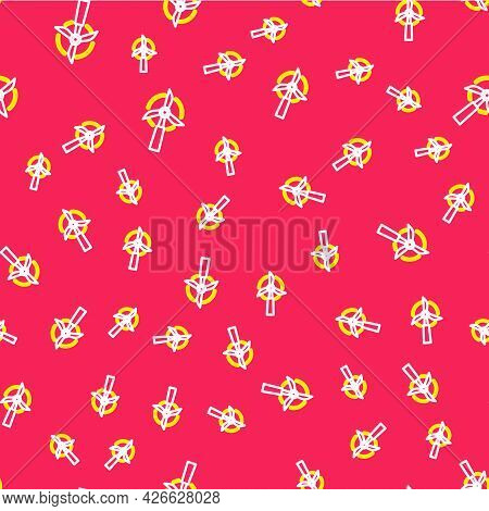 Line Wind Turbine Icon Isolated Seamless Pattern On Red Background. Wind Generator Sign. Windmill Fo