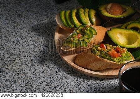 Closed Up With Avocado Toasts, Avocado, Avocado Slices And Coffee, Healthy Snack, Healthy Food.