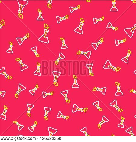 Line Plant Breeding Icon Isolated Seamless Pattern On Red Background. Plants Growing In The Test Tub