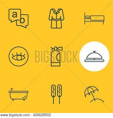 Illustration Of 9 Tourism Icons Line Style. Editable Set Of Bathrobe, Bathtub, Beach Umbrella And Ot