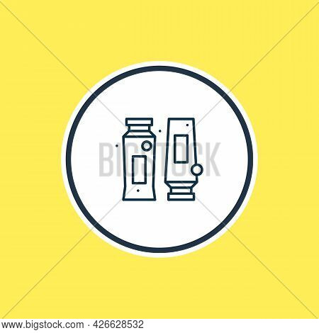 Illustration Of Shampoo With Conditioner Icon Line. Beautiful Wc Element Also Can Be Used As Bottle