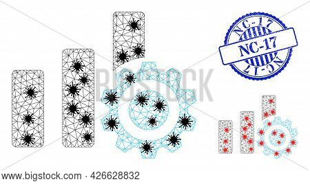 Mesh Polygonal Bar Chart Settings Icons Illustration In Infection Style, And Rubber Blue Round Nc-17