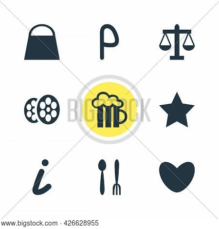 Illustration Of 9 Map Icons. Editable Set Of Parking Sign, Law, Love And Other Icon Elements.