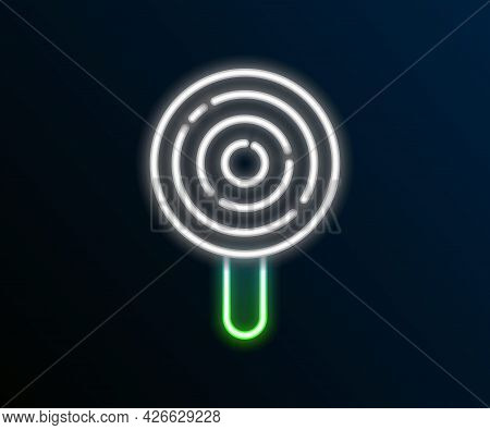 Glowing Neon Line Lollipop Icon Isolated On Black Background. Candy Sign. Food, Delicious Symbol. Co