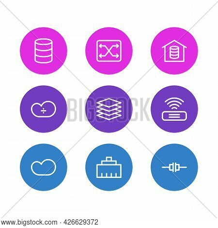Illustration Of 9 Internet Icons Line Style. Editable Set Of Root Server, Switch, Cloud Storage And