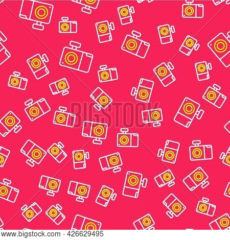 Line Photo Camera Icon Isolated Seamless Pattern On Red Background. Foto Camera Icon. Vector