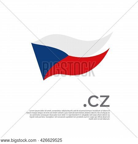 Flag Czech Republic. Colored Stripes Flag On A White Background. Vector Design Of National Poster Wi