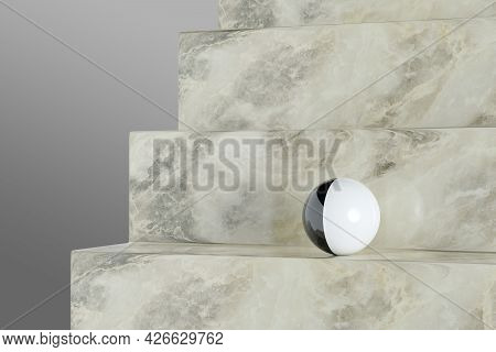 Black And White Ball On Marble Staircase. 3d Illustration.
