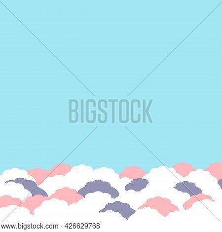 Empty Blue Background With Abstract Fluffy White And Pink Clouds In Pastel Color. Background For Web