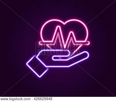 Glowing Neon Line Heart Rate Icon Isolated On Black Background. Heartbeat Sign. Heart Pulse Icon. Ca