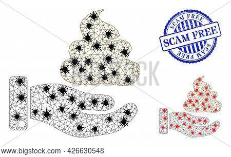 Mesh Polygonal Hand Give Shit Symbols Illustration Designed Using Outbreak Style, And Grunge Blue Ro