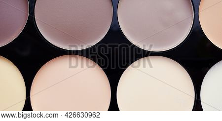 Close-up Of Contouring For Makeup, A Set Of Concealers In Various Colors.