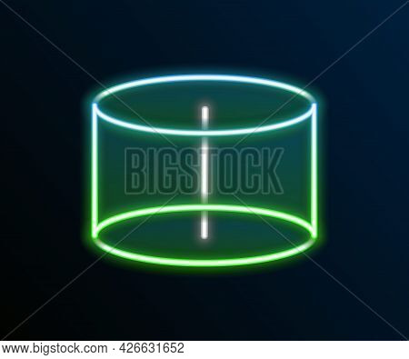 Glowing Neon Line Geometric Figure Cylinder Icon Isolated On Black Background. Abstract Shape. Geome