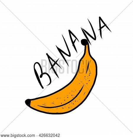Cartoon Yellow Bananas. Peel Banana, Yellow Fruit And Bunch Of Bananas.