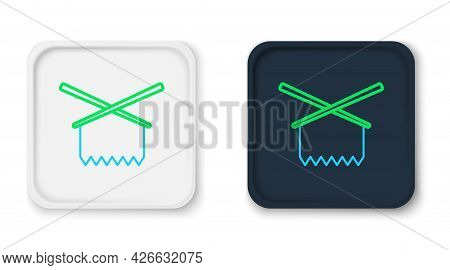 Line Knitting Needles Icon Isolated On White Background. Label For Hand Made, Knitting Or Tailor Sho