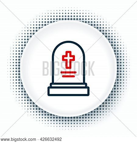 Line Grave With Tombstone Icon Isolated On White Background. Colorful Outline Concept. Vector