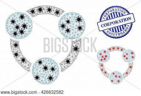 Mesh Polygonal Collaboration Symbols Illustration With Infection Style, And Rubber Blue Round Corpor