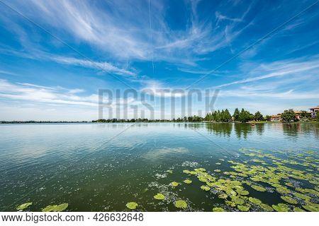 The Lower Lake Of Mantua (lago Inferiore) Or Mincio River In Front Of The Public Park In Springtime.