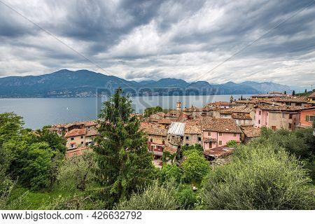 Lake Garda (lago Di Garda) View From The Small Village Of Castelletto Di Brenzone With The Lombardy