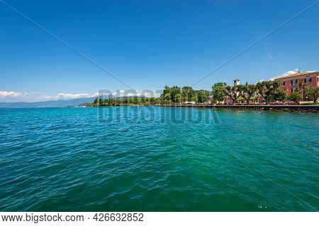 Lake Garda (lago Di Garda), In Front Of The Small Village Of Bardolino, Tourist Resort In Verona Pro