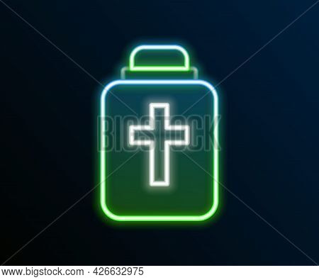 Glowing Neon Line Funeral Urn Icon Isolated On Black Background. Cremation And Burial Containers, Co