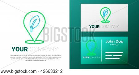 Line Location With Leaf Icon Isolated On White Background. Eco Energy Concept. Alternative Energy Co