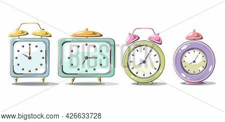 Daylight Saving Time Begins Concept. The Clocks Moves. Modern Flat Design