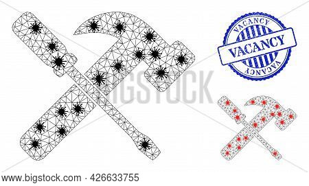 Mesh Polygonal Hammer And Screwdriver Symbols Illustration With Infection Style, And Grunge Blue Rou