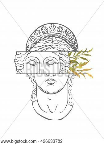 Greek Sculpture With Abstract And Floral Elements, Vector Isolated. Sculpture Head Woman