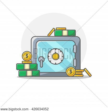 Bank Safe Clipart. Bank Safe Isolated Simple Vector Clipart