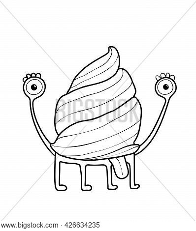 Funny Cute Snail Monster With A Shell And Tongue Sticking, Adorable Monochrome Mollusk Imaginary Cre