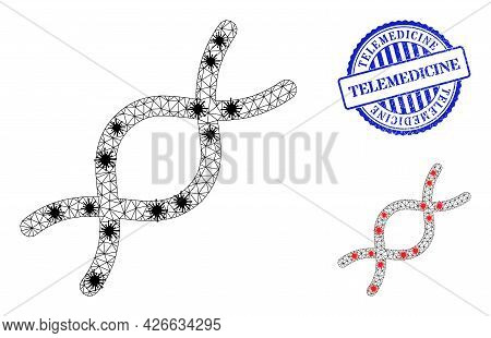 Mesh Polygonal Genome Spiral Symbols Illustration With Infection Style, And Grunge Blue Round Teleme